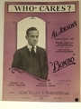 Collectible Sheet Music Who Cares?  Al Jolson's Bombo