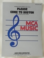 Sheet Music Please Come To Boston 1974