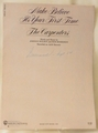 Sheet Music Make Believe It's Your First Time The Carpenters 1983