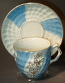 Embossed Cup and Saucer Set Blue and White Gold Trim