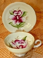 Handpainted Cup & Saucer Orchid with Gold Trim