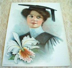 Early 1900 Victorian Lithograph 1906 The Graduate