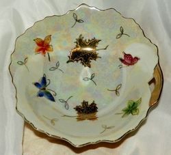 Lipper & Mann (L&M Japan) Opulence bowl LM3 butterflies, leaves, gold trim