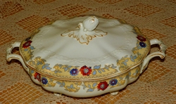 Johnson Brothers Covered Vegetable Bowl Pattern # JB882 Pareek Red & Blue with Brown Trim