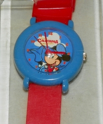 Disney California Adventure Watch Engineer Mickey on Face Red Band Blue Case