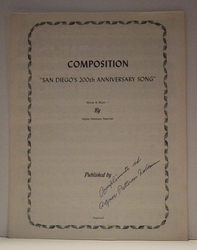 Collectible Sheet Music San Diego's 200th Anniversary Song Signed