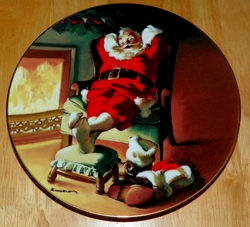 1991 Rockwell Plate To All A Good Night Series Name The Sundblom Santa Series SOLD