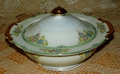 Vintage Floral Covered Vegetable Dish Made in Japan 9 inches