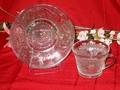 Indiana Glass Sandwich Pattern Cup and Saucer Set