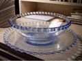 Lovely Blue Serving Bowl with Liner Pie Crust Edge