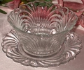 Cambridge Glass Caprice 2 PC Mayo Bowl With Liner Plate