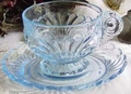 Cambridge Caprice Moonlight Footed Blue Cup & Saucer