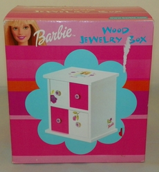 2000 Mattel Barbie 2 Drawer Wooden Jewelry Accessories Box With Pink Velvet Lined