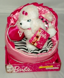Barbie Fashion Pet Set White Poodle in Pink Bed