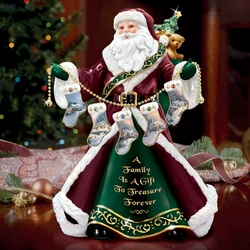 Thomas Kinkade Family Treasure Santa Figurine Birthstone Charms