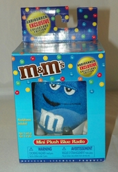 M&M's Mini Plush Blue FM Scan Radio a Radioshack Exclusive Collectible NRFB Ages 3 & Up w/Headphones