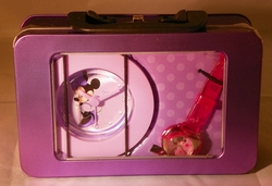 Disney Minnie Mouse Pink Wrist Watch & Purple Clock in Collectible Purple Tin