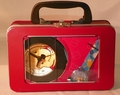 Disney Winnie the Pooh Black Clock & Blue Watch in Collectible Burgundy Tin