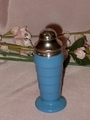 Hazel Atlas Blue Shaker Moderntone Footed Metal Top