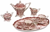 Tea Service of 8 - Red & White Porcelain