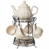Ivory Fleur-de-Lis 10-pc Porcelain Tea Set