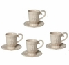 Set of 4 Ivory Porcelain Teacups/Saucers