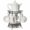 Set of 9 White Porcelain Tea Set w/Rack
