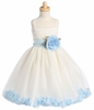 Ivory Tulle Flower Petal Dress w/ Sash