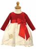 Red Velvet/Embroidered Organza Dress