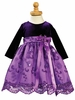 Purple Velvet / Embroidered Tulle Dress