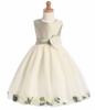 Sage Shantung/Ivory Tulle Flower Dress