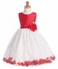 Red Shantung/White Tulle Flower  Dress