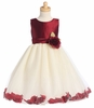 Burgundy/Ivory Shantung/Tulle Flower Dress