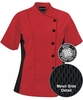 Women's Red Chef Coat w/ Mesh Side Panels - 100% Cotton