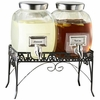 2 Glass Beverage Dispensers w/Rack