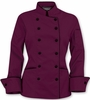 Women's  Wine w/Black Chef Coat