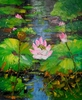 Canvas Oil Art - Pond with Lotus