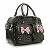 Quilted Bow Pet Carrier - Black