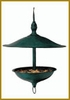 Large Round Brass Hanging  Bird Feeder  - Green Patina