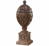 Antique Buff Ornate Urn With Lid