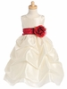 Ivory Sleeveless Gathered Taffeta Dress