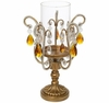 Clear/Amber Crystal Candle Holder