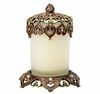 Burgundy and Gold Jewel Candle Holder