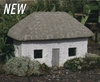 MIniature  White Tabby Stone Cottage
