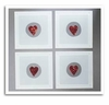 Smashing Glass Coasters - Red Heart Frame