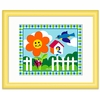 Happy Flowers Framed Bird Print