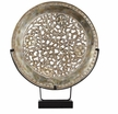 Scrolling Floral Metal Plate & Stand
