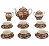 Brown & White Porcelain Tea Set