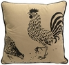 "Corbel 18"" Square Rooster and Hen Pillow"
