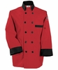 Fashion Red/Black Trim Chef Coat